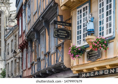 QUIMPER, FRANCE - JULY 23, 2019: With some excellent museums, standout crêperies, a history of faience production, Quimper is Finistère's thriving capital.