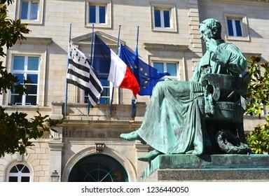Quimper,France Hotel de Ville with Laennec Monument