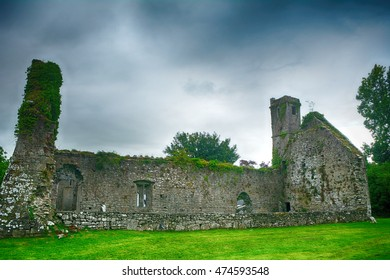 QUIN - AUGUST 16 : Franciscan abbey ruins on 16 August 2016 at Quin, Ireland. Ireland has a rich religious past, so the country is full of monastery ruins.