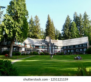Quinault, Washington, August 2015.  Summer establishing wide-shot of Lake Quinault Lodge on the shores of Lake Quinault, Olympic National Park.