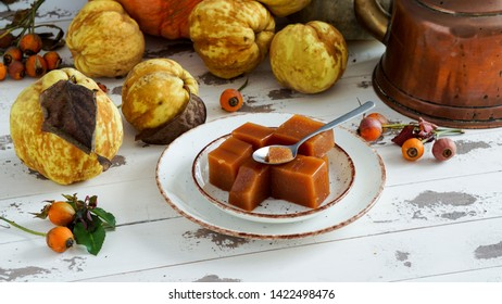 Quince cheese or marmelada is a sweet, thick jelly made of the pulp of the quince fruit. dulce de membrillo in Spain
