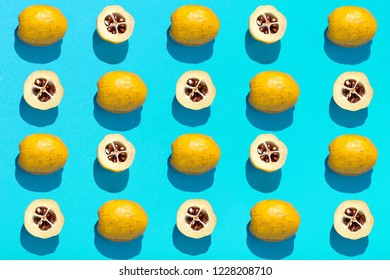 Quince isolated on a colored background. Cut into half quince on a colored background. Seamless pattern with quince