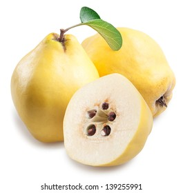 Quince with slices on a white background.