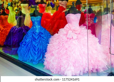 Quinceanera colorful dresses. Mexican tradition.