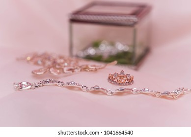 quinceanera ring, bracelet, necklace and glass box