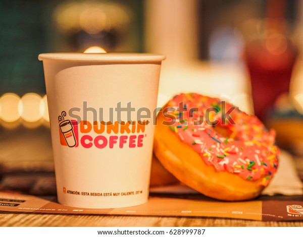 Quincy, Massachusetts - APRIL - 2017 : Dunkin Donuts coffee and donuts served
