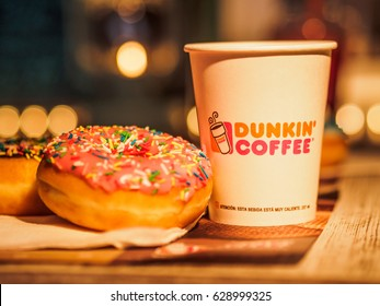 Quincy, Massachusetts, USA - APRIL - 2017 : Dunkin Donuts coffee and donuts served