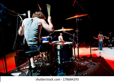 QUINCY, WA - JULY 26, 2006: Drummer for the band Relient K performs at Creation NW, a 4 day Christian concert festival at the Gorge Ampitheater in Washington.