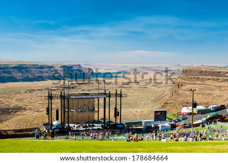 QUINCY, WA - JULY 26, 2006: Crowd of people watching a concert at Creation NW, a 4 day Christian concert festival at the Gorge Ampitheater in Washington.