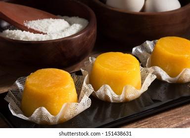 Quindim, tasty dessert made with eggs