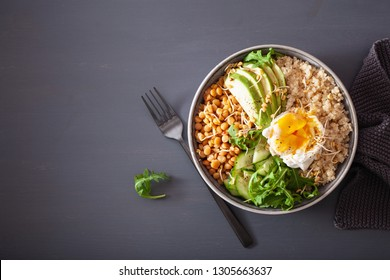 quinoa bowl with egg, avocado, cucumber, lentil. Healthy vegetarian lunch