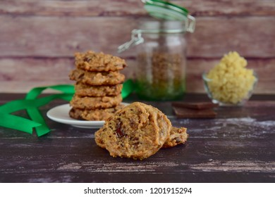 Quinoa chocolate cookies on wooden background