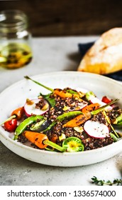 Quinoa with Grilled Baby Carrot ,Snap Pea, Radish and Pistachio Salad