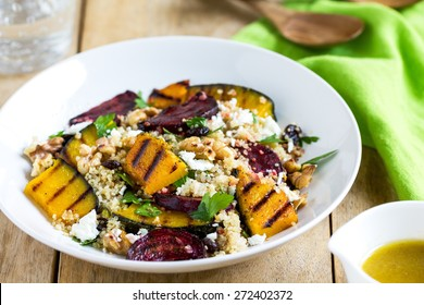 Quinoa with grilled pumpkin and beetroot salad by vinaigrette