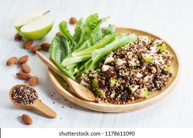 quinoa salad with green apple and nut, healthy food concept