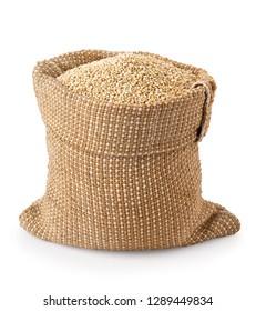 quinoa seeds in burlap sack isolated on white background