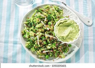Quinoa & supergreen salad. Broccoli, peas, radish & quinoa with houmous & spinach dip