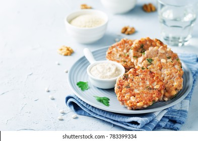 Quinoa walnuts White Beans Parsley Burgers. toning. selective focus