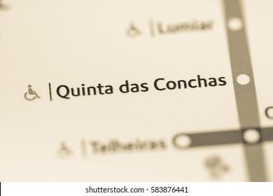 Quinta das Conchas Station. Lisbon Metro map.