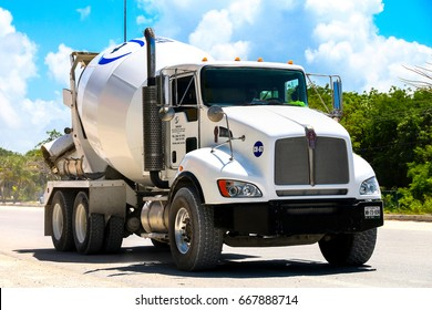QUINTANA ROO, MEXICO - MAY 18, 2017: Concrete mixer truck Kenworth T370 at the interurban road.