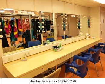 Quintana Roo, Mexico-January 21, 2020:  Behind the scenes look at a professional actor's dressing room on board the Norwegian Breakaway.