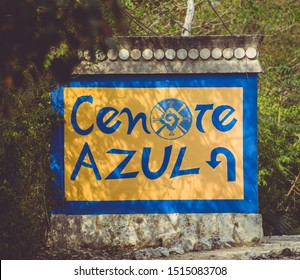 """Quintana Roo,  Riviera Maya / Mexico - Apr 2017 The Cenote Azul """"Blue Cenote""""  is a favorite of the inhabitants of the Riviera Maya. Cenotes are natural lagoons that feed on groundwater"""