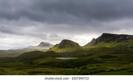 The Quiraing, best scenery of Scotland, Isle of Skye landscape, moody sky