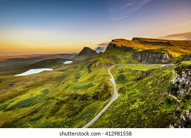 Quiraing mountains sunset at Isle of Skye, Scottish highlands, United Kingdom