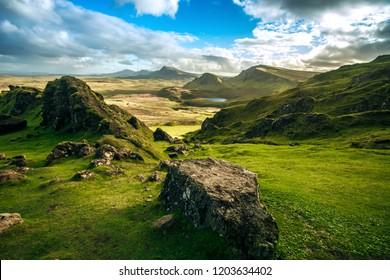 Quiraing Pass Skye Island Scotland autumn colors landscape