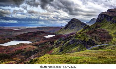 The Quiraing: rain and wind to october evening. Northeast coast of Trotternish Peninsula, Isle of Skye, Inner Hebrides, Scotland, United Kingdom, Europe.