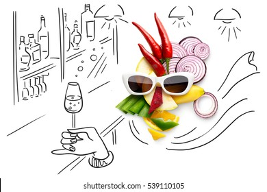 Quirky food concept of cubist style female face in sunglasses in a bar made of fruits and vegetables, isolated on sketchy background.