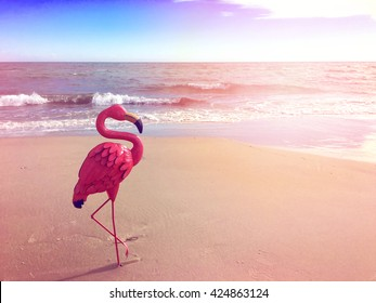 Quirky on-trend pink flamingo on a calm open beach for Summertime concept with applied filters and lens flare.