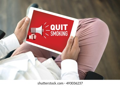 QUIT SMOKING ANNOUNCEMENT CONCEPT ON SCREEN