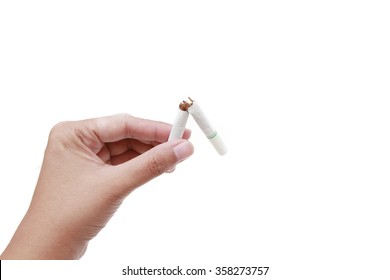 Quit smoking,  hands holding breaking of the cigarette