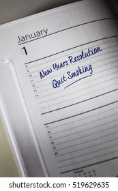 Quit Smoking New Years Resolution in the diary