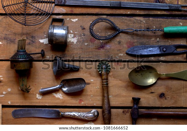 Quite Few Old Kitchen Gadgets On Stock Photo (Edit Now ...