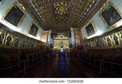 QUITO, ECUADOR - 2017: Interior of the Church of St. Francis (Iglesia de San Francisco), a 16th-century Roman Catholic building in the city's historic center.