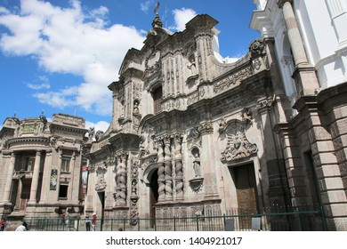QUITO - ECUADOR - 22 SEPTEMBER 2018 - Jesuit Church of La Compania in Quito, Ecuador. Architecture of the historic center of Quito. Colonial area in Quito is an UNESCO World Heritage site.