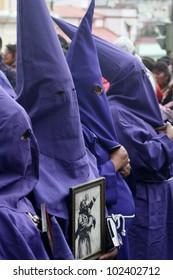 QUITO, ECUADOR - APRIL 06: Penitents at the Good Friday procession on april 06, 2012 in  Quito, Ecuador