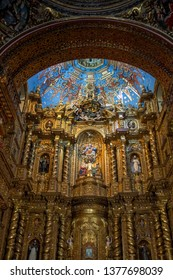QUITO, Ecuador - APRIL 15 2019: La Compañia church interior in the old town of Quito, Ecuador