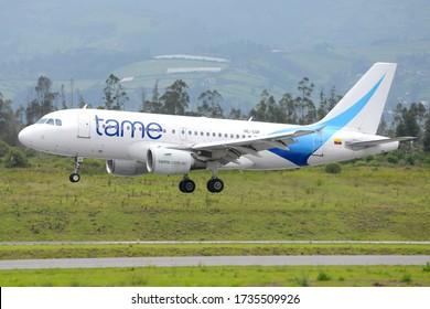 Quito / Ecuador - April 16 2016: TAME Airlines Airbus A319 landing at Quito Mariscal Sucre International Airport. Ecuadorian national airline. Airplane HC-COF.