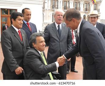 Quito - Ecuador. April 2, 2017. Ecuadorian politicians Lenin Moreno and Jorge Glas greet during a meeting