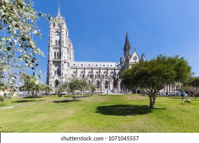 Quito Ecuador April 2018 This is  the Cathedral in Quito, visited by many people for its magnificents interiors and views on the historical center of Quito