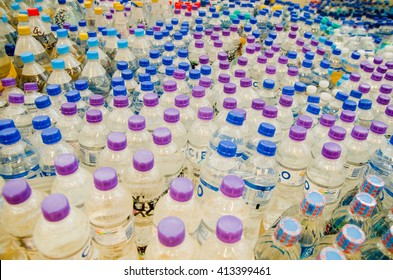 Quito, Ecuador - April 23, 2016: Water donated by citizens of Quito providing disaster relief for earthquake survivors in the coast. Gathered at Bicentenario Park