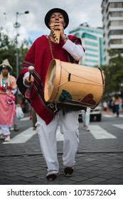 Quito, Ecuador circa July 2017, folklore street performances dancing with traditional clothes  on the street of old town Quito