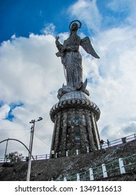 Quito / Ecuador - Dec 2010: Statue of the Virgin of Quito and observation towe, known as the Winged Virgin or Apocalyptic Virgin, in the city center of Quito on the Panecillo hill.