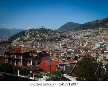 Quito, Ecuador - December 15 2017: Panoramic view of Quito old town and Panecillo hill