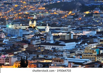Quito Ecuador downtown view from park