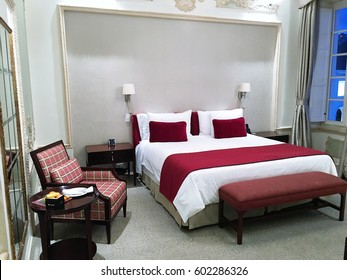 QUITO, ECUADOR - FEBRUARY 22, 2017: Casa Gangotena Guest Room. In a restored historic mansion overlooking Plaza San Francisco, the three-story Boutique Hotel has 31 elegant rooms.
