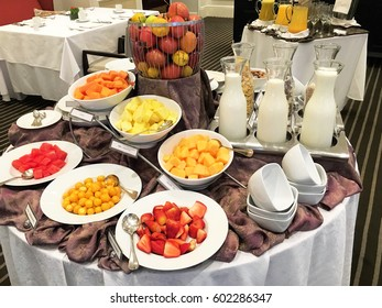 QUITO, ECUADOR - FEBRUARY 22, 2017: Casa Gangotena Breakfast Buffet. In a restored historic mansion overlooking Plaza San Francisco, the three-story Boutique Hotel has 31 elegant rooms.